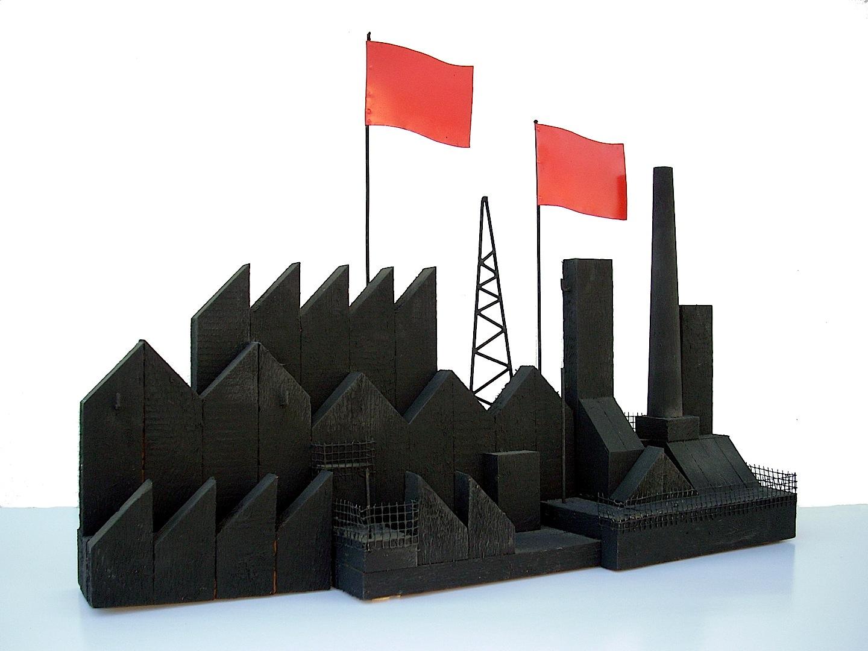 Fabbrica, Madera , hierro cm. 49 x 66 x 16 -1986-