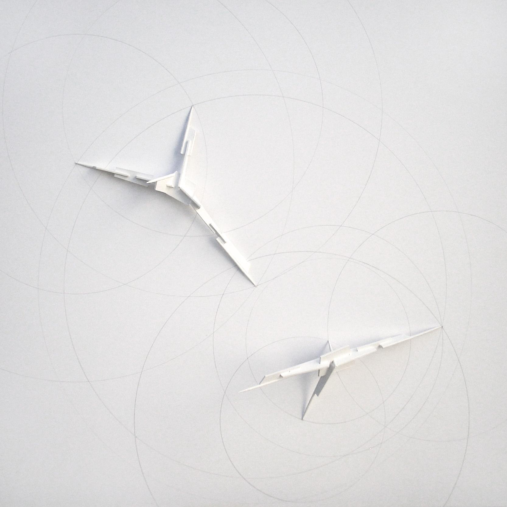 Pan goniometric traces 1, Cartón, madera, acrílico, lápiz cm. 40 x 40 x 2,5 -2014-A