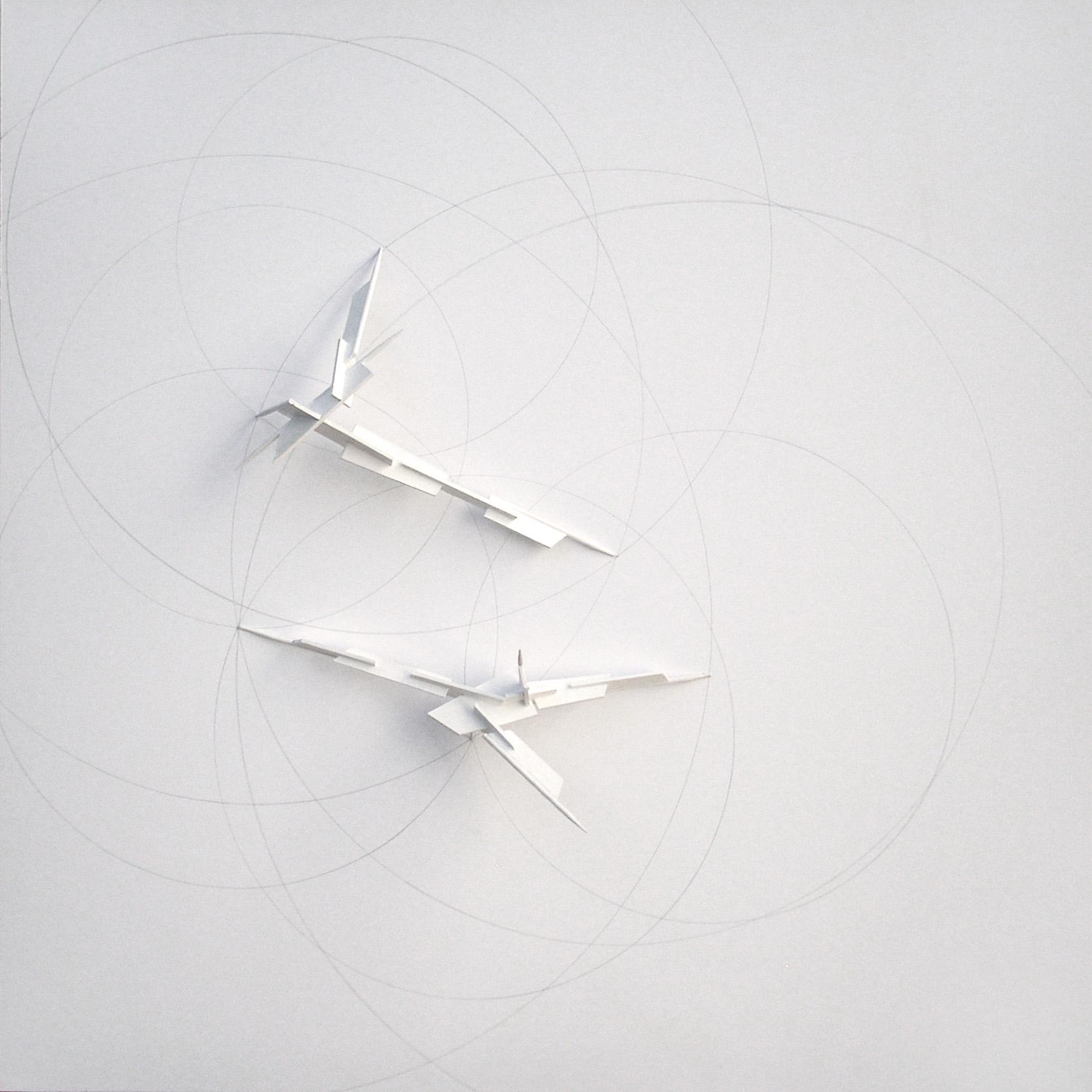 Pan goniometric traces 2, Cartón, madera, acrílico, lápiz cm. 40 x 40 x 2,5 -2014-A